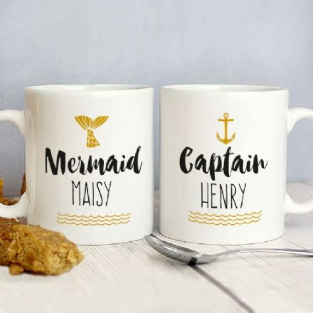 Personalised Mermaid and Captain Mug Set